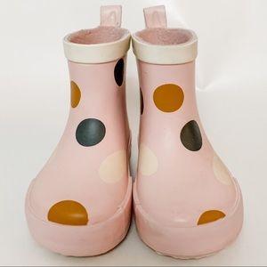 Pink polka dot rain boots